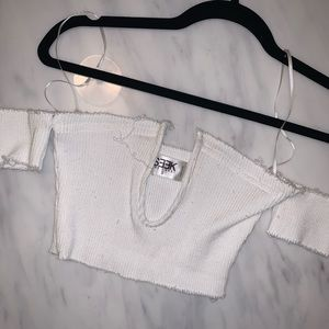 LF off the shoulder white crop top